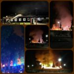 Feuer Kurpark Tennishalle Collage